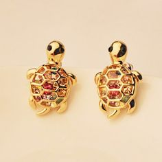 3.55$  Buy now - http://difgf.justgood.pw/go.php?t=YE2084901 - Pair of Rhinestone Decorated Tortoise Shape Earrings 3.55$