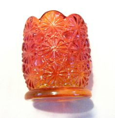 AMBERINA RED DAISY AND BUTTON GLASS TOOTH PICK HOLDER