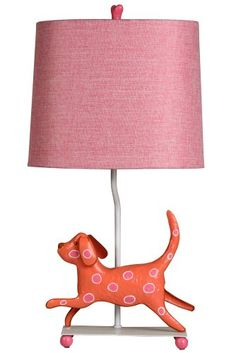 "Mini Dog 21"" H Table Lamp with Rectangle Shade Finish: Pink/Orange Stylecraft http://www.amazon.com/dp/B009QEZRA4/ref=cm_sw_r_pi_dp_K7Abub11XRK3G"