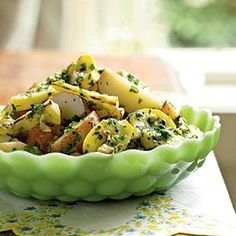 Potato Salad with Herbs and Grilled Summer Squash |With cornichons, tarragon, and a lemon-herb dressing, this is a South-of-France spin on an American classic. We promise you won't miss the mayonnaise. The briefly grilled yellow squash brings a bit of crunch and caramelized flavor to the salad, as well as summery color. MyRecipes.com