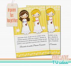 Comunión Mellizas - Estampita para imprimir con nenitas