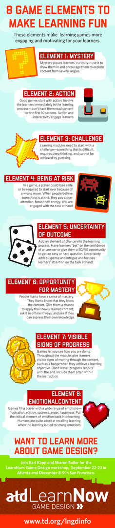This infographic illustrates eight elements that make games for fun and engaging for learners