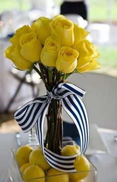 Yellow roses with a black and white stripe ribbon is making our Alpha Gam hearts pitter patter! Floral Centerpieces, Table Centerpieces, Floral Arrangements, Trendy Baby, Baby Shower Floral, Flower Decorations, Wedding Decorations, Yellow Wedding, Centre Pieces