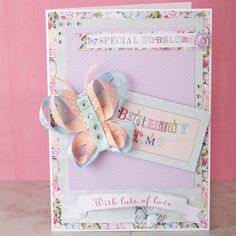 Ribbon Butterfly Card with ribbon butterfly tutorial. Crafts To Make, Diy Crafts, Craft Making, Butterfly Cards, Handmade Cards, Cardmaking, Birthday Cards, Card Ideas, Projects To Try