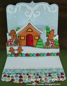 Summer Hills-Painter using the Square Pop 'n Cuts Base with the Multi-Tier insert - 1craftyPainter: Pop 'N Cuts Christmas Fun
