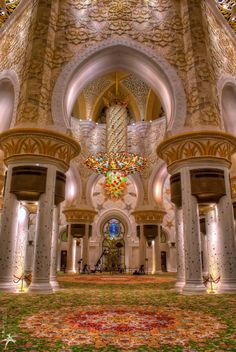 Chandeliers of Sheikh Zayed Grand Mosque, Abu Dhabi United Arab Emirates