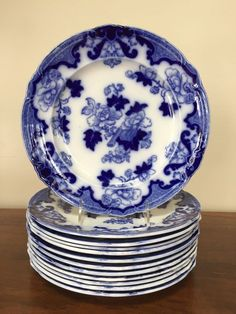 A Lovely Vintage Alfred Meakin Oval Plate/platter Blue On White,leighton Pattern Pottery