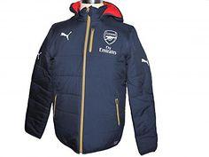 55e245ac84a Arsenal FC Puma children's blue red reversible padded football jacket  2015-16: Amazon.co.uk: Sports & Outdoors