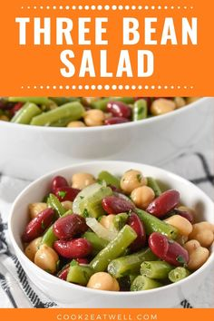Nov 2019 - This three bean salad recipe is simple, affordable and delicious! Green beans, red kidney beans and garbanzo beans are combined with a sweet and tangy dressing. 9 Bean Soup Recipe, Bean And Bacon Soup, Bean Salad Recipes, Soup Recipes, Healthy Recipes, Red Bean Salad, Green Bean Salads, Beans Salad, Red Kidney Beans Recipe