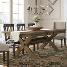 Poe Cross-buck Extendable Dining Table by Gracie Oaks – BabyPoring Shop Trestle Dining Tables, Solid Wood Dining Table, Extendable Dining Table, Rustic Table, Farm Tables, Dining Chairs, Dining Table Design, Dining Nook, Dining Table In Kitchen