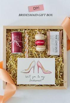 Will you be my Bridesmaid box diy wedding bridesmaid gift ideas via Coastal Bride