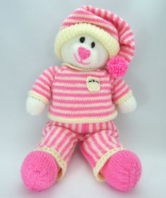 Bed Time Bear Soft Toy Knitting Pattern. Cute by KnittingByPost