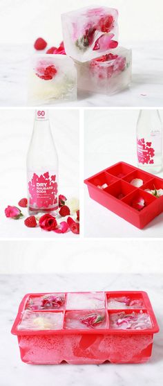 Raspberry Rose Ice Cubes | DIY Bridal Shower Party Ideas on a Budget