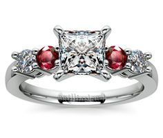 Princess Round Diamond & Ruby Gemstone Engagement Ring in White Gold  http://www.brilliance.com/engagement-rings/round-diamond-ruby-gemstone-ring-white-gold