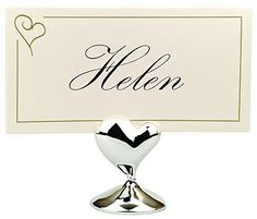 10 Silver Love Heart Wedding or Anniversay Name Card Stand bomboniere favor