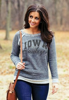 efbc3f28052b4 This Game Day Couture FSU Metallic Neckline Crew-Neck features chic French  Terry