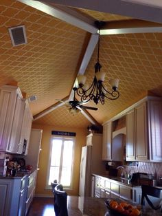 Coolest stenciled ceiling ever!
