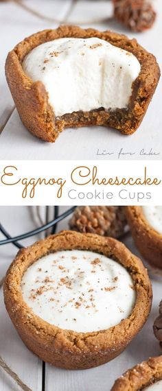 Eggnog Cheesecake Cookie Cups! Chewy gingerbread cookie cups filled with a fluffy eggnog cheesecake.