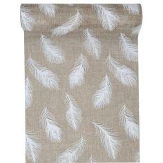 Chemin de table Jute naturelle et plumes blanches - décoration de table chic et…