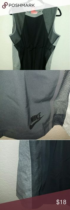 Nike Women's running tank ☆PRICE FIRM☆  NEW Grey and black Nike tank with mesh inserts and    adjustable drawstring waist.  Size M. Nike Tops Tank Tops