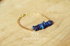 Blue stone diy bracelet.
