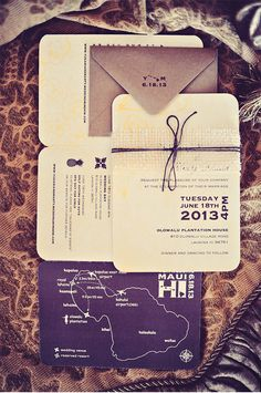 Black, Ivory, and Tan Invitation Suite with Map of Hawaii | Tamiz Photography | Maui Wedding