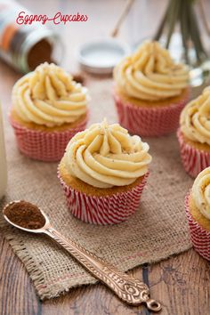 Light and fluffy Eggnog laced cupcakes with a creamy, smooth Eggnog frosting make these the perfect Holiday cupcake!