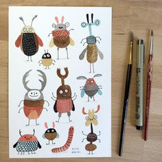Elise Gravel : : Bugs           watercolor, beetles, characters, illustration, cute, creatures, drawing