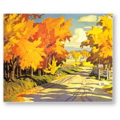 AJ Casson Country Road in Autumn Ontario Canada Landscape Counted Cross Stitch or Counted Needlepoint Pattern Group Of Seven Art, Group Of Seven Paintings, Tom Thomson, Emily Carr, Canadian Painters, Canadian Artists, Canada Landscape, Ontario, Bonnet Crochet