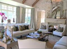 stone walls + beams + neutral interiors Open  Living space ideas