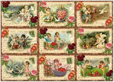 9 CUPID VALENTINE POSTCARD FLOWER VINTAGE 155 lb SCRAPBOOK PAPER CRAFT CARD TAG   eBay
