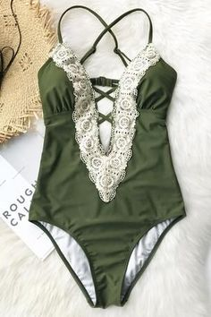06dc9c4416 Cupshe Ladies Vintage Lace One-piece Swimsuit Beach Wear 2017
