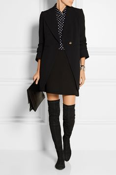 """netaporter """"Our buyer Sara Redwood says, """"the dreamiest of dreamy over-the-knee boots came from Robert Clergerie this season - they are flat for instant laid-back cool."""" This suede pair is backed in stretch so they slip on easily and fit smoothly to the shape of your leg. Wear them with dresses or skirts.  Shown here with: Comme des Garçons Comme des Garçons Shirt, Chloé Blazer, Proenza Schouler Clutch, Marni Skirt, Arme De L'Amour Bracelet, Larsson & Jennings Watch, Arme De L'Amour Ring."""""""