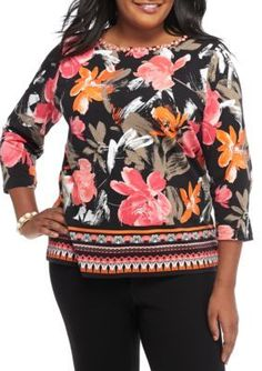 Ruby Rd Chino Multi Plus Size Must Have Floral Border Knit Top
