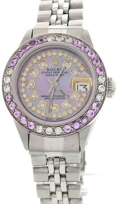 Rolex Rolex Oyster Perpetual Datejust Stainless Steel Diamond and Pink Sapphire Womens Watch | TrueFacet