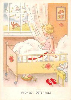 AK Frohe Ostern Kind Mädchen sitzt im Bett Osternest Postkarte sign. RAA Künstle in Sammeln & Seltenes, Ansichtskarten, Motive | eBay