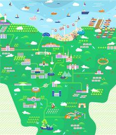 Indonesia Jakarta Illustrated Map