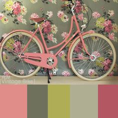 vintage bike with a great color combination:  pink, gray, yellow, white