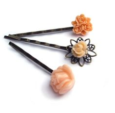 Hair pins Flower resin peach rose Set of 3 by @JP with Love http://etsy.me/prwt3g via @Etsy