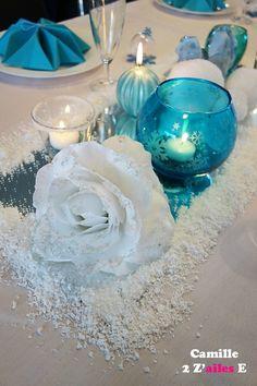 deco centre table reine neiges - miroir- bougies