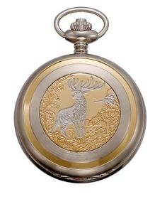 """Gotham Men's Two-Tone Swiss Quartz Pocket Watch with Desktop Stand # GWC14047DR-ST Gotham. $89.95. Classic white enamel dial with Arabic numbers and antique hands. Includes matching 15"""" curb pocket watch chain with spring ring attachment plus solid brass desk top stand. Arrives in beautiful presentation box with Selvyt polishing cloth, lifetime limited warranty and operating instructions. Scratch resistant mineral crystal. Intricately etched covered Swiss parts date..."""
