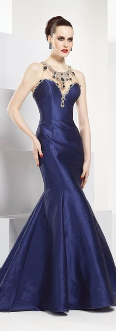 Tarik Ediz couture ~   all perfect!  Navy blue jewelled dress