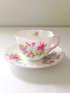 Antique Shelley English Fine Bone China Stocks Pattern Dainty Shape Teacup and Saucer - c. 1940-1966