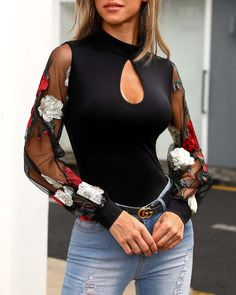 Floral Embroidery Sheer Mesh Sleeve Blouse 2019 The post Floral Embroidery Sheer Mesh Sleeve Blouse 2019 appeared first on Floral Decor. Trend Fashion, Womens Fashion, Fashion Styles, Fashion Outfits, Style Fashion, Fashion Pattern, Floral Embroidery, Casual Shirts, Casual Outfits