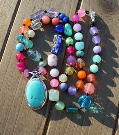 Colorful Beaded Necklace, with pendant, Turquoise Jewelry, Gemstone Necklace, Jewelry gifts for her, by KnottedUp by KnottedUpJewelry, $117.68 USD