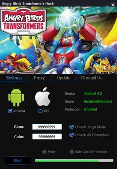 Angry Birds Transformers Hack ==> http://www.fileworld.info/hack/angry-birds-transformers-hack/