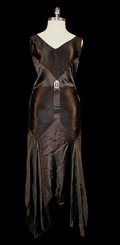 Black satin Art Deco dress - 1930's - @~ Watsonette