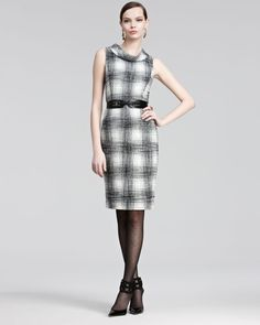 Gojee - Plaid Wool Dress by Oscar de la Renta