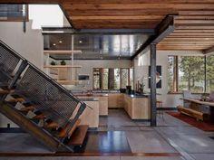 #wood #kitchen #staircase #metal