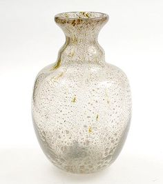 Freeblown clear glass Unica vase Z 158 with large crackle fading to small crackle design A.D.Copier 1947 executed by Glasfabriek Leerdam / the Netherlands